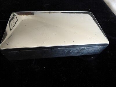 Vintage sterling silver cigarette box marked wood lining