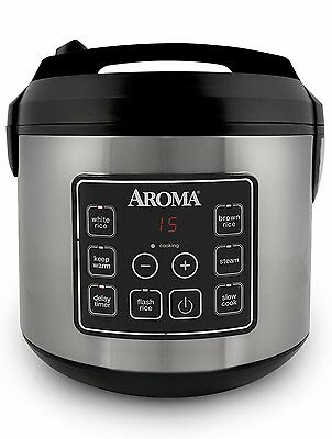 Digital Rice Cooker 20Cup Cooked Food Steamer Stainless Steel Kitchen Warming