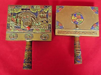 Chinese Brass Silent Butler Enameled Cloisonne 2 pieces with Enameled Handles