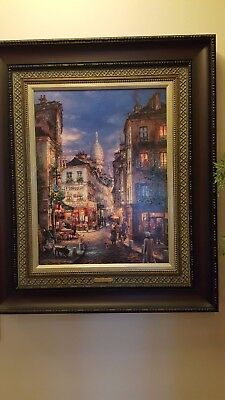 "Cao Yong ""A Stroll in Montmartre"" 40x30  w/COA. Framed ARTIST PROOF.Hard to find"