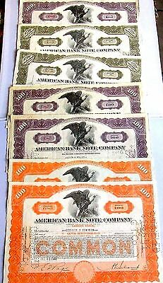 American Bank Note Company 7 Stocks Certificates