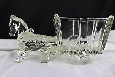 Large Vtg Clear Pattern Glass Donkey/horse Pulling Cart Candy Dish/ Planter