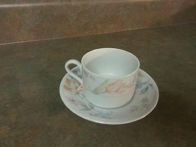 American Limoges FLOWERS Cup & Saucer