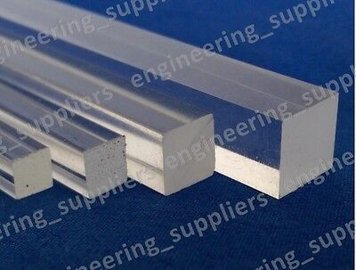 Square Plastic Rod Clear Acrylic 3, 4, 5, 6, 8 & 10mm Sq Profile Various Length