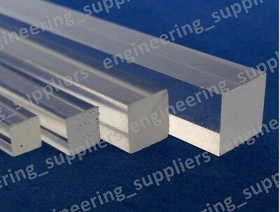 Square Plastic Rod Clear Arylic 3, 4, 5, 6, 8 & 10mm Sq Profile Various Length