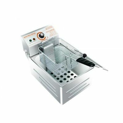 5.5 L Stainless Steel Commercial Single Tank Electric Deep Fat Chip Fryer Basket