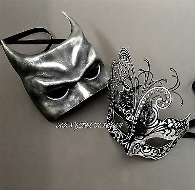 Men Women Black Silver Batman & Venetian Metal Masquerade Prom Masks