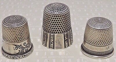 Three (3) Simon Brothers Sterling Silver Thimble Lot  Size 10  11  12