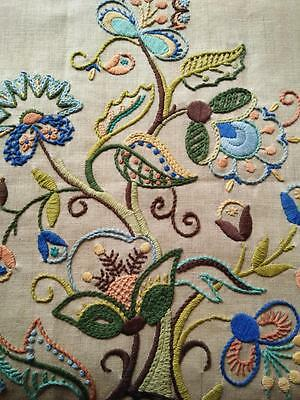 Tree of Life ~ Jacobean Vintage Crewel Hand Embroidered ~Fire Screen/Panel/Cover