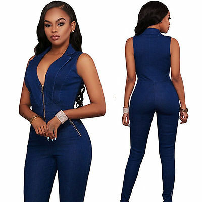 Women Denim Zipper V-neck Clubwear Playsuit Bodycon Party Jumpsuit Long Trousers