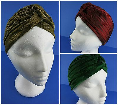 Metallic Turban Vintage 40s 50s Hollywood Rockabilly PinUp Small Red Green Gold