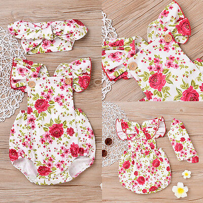 Toddler Newborn Baby Girl Headband Romper Bodysuit Jumpsuit Outfit Clothes 0-24M