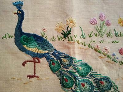 WOW Vintage Peacock Hand Embroidered Small Picture Panel - Frame? Craft?
