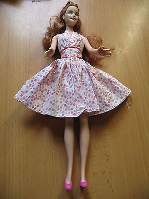 Barbie doll curly light red long hair summer dress pink shoes straight arms