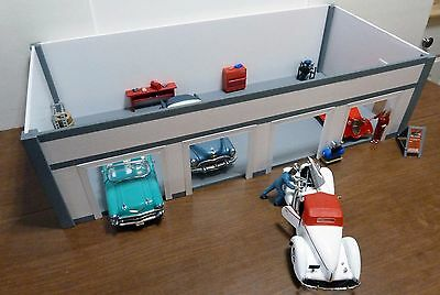 CUSTOM BUILT STURDY/QUALITY FOUR CAR GARAGE/STATION KIT 1:24/25 Scale Diorama!