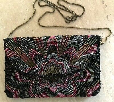 Vintage Color Seeded Beads Evening Crossbody Handbag