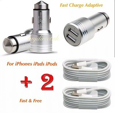 4 Apple iPhone X/8/7/6/5/5S/5C In Car Super Fast Charger+2x Usb Data Lead Cable