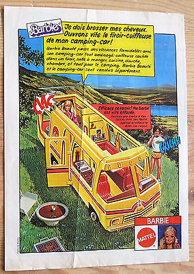 Vintage BARBIE 1980 Ad KEN camping car eighties Mattel french 70' 80' shaver