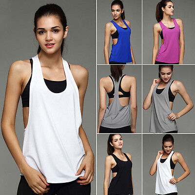 UK Women Sports Vest Fitness Exercise Gym Yoga Tank Tops Singlet Loose Tops 6-14