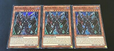3x YuGiOh - Destiny HERO - Plasma DESO-EN012 - Super Rare 1st Edition  NEW