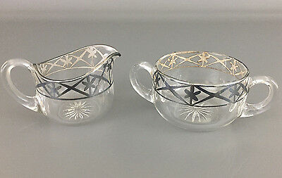 Antique Edwardian clear glass, silver overlay creamer & sugar bowl 1900 - 1910's