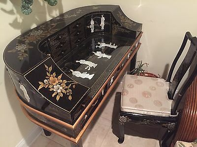 Asian/chinoserie Lacquer Geisha Inlay Oriental Full Body Desk And Chair