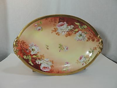 ANTIQUE LIMOGES CORONET France Floral Plate Platter B Moem PAINTED ...