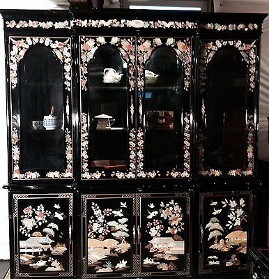 Korean China Cabinet Black Lacquer Mother of Pearl XLARGE