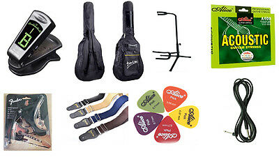 Acoustic Guitar Accessory full Package Bag, Guitar stand eTuner Strap Capo......