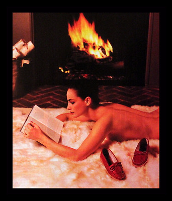 1982 Jacques Cohen Shoes Ad - Woman on Rug with Fireplace - Advertising Page