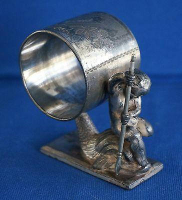 Meriden Silverplate NAPKIN RING #157 Winged Cherub w/ Spear Riding Dolphin Fish