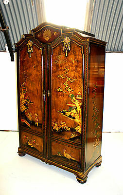 A Superb Chinoiserie Decorated And Burr Walnut Wardrobe By Maple & Co