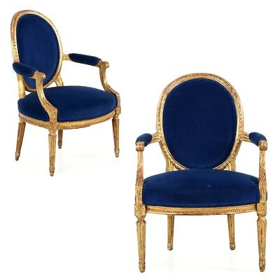 Fine Pair of Louis XVI Period Giltwood Fauteuils Arm Chairs, France c. 1780