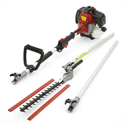 33cc Petrol Long Reach Hedge Trimmer Garden Tool Extension Pole 1.1KW 1.5HP