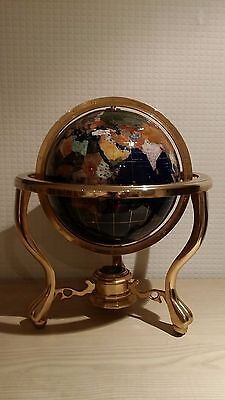 Blue Lapis Semi-precious Stone World Globe Map With Brass Stand And Compass