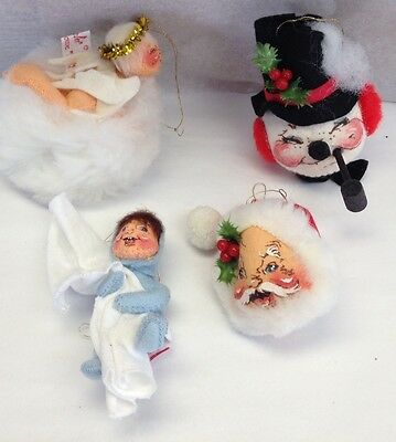 set of 4 annalee christmas ornaments angel santa snowman elf - Annalee Christmas Decorations