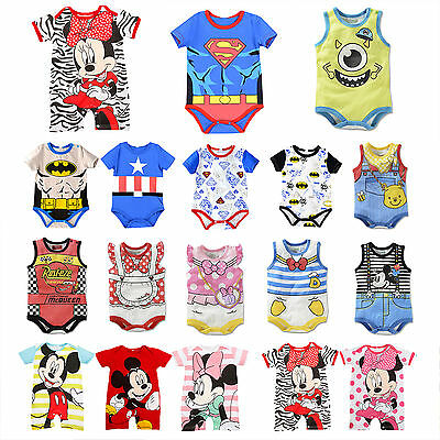 Newborn Baby Boys Girls Marvel Cartoon Romper Jumpsuit Bodysuit Clothes Outfit