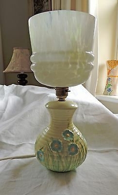Art Deco Ceramic Table Lamp with Deco Glass Shade