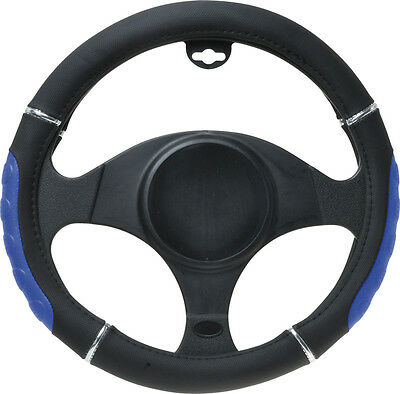 Steering Wheel Cover Black  And Blue Leather Look - Brand New 37-39 (Size M)