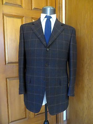 CANALI Brown Blue Windowpane Check Wool Jacket Blazer 48EU 38R Made in Italy