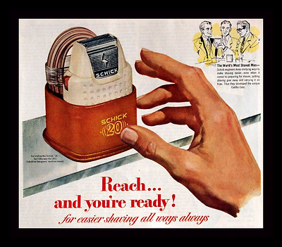 1951 Schick Electric Mens Shaver Ad - Shave - Vintage 1950s Advertising Page