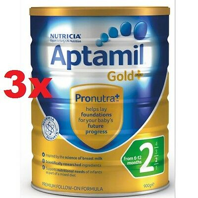 3 x Nutricia Aptamil Gold 2 Formula 900g-Free Ship within Australia