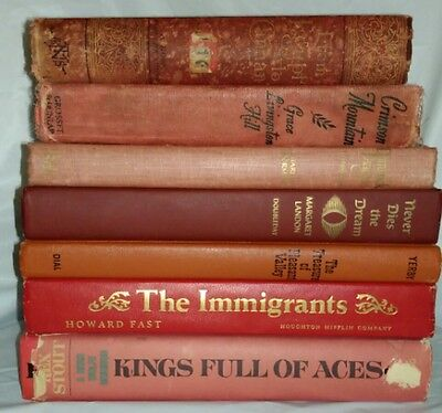 Lot of 7 Vintage Distressed Books for Home Decor or Crafting Red