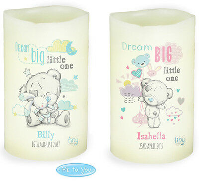 Nightlight LED Candle, Personalised Tiny Tatty Teddy, Baby girl or baby boy gift