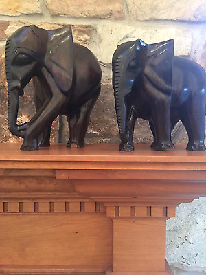 Rare Vintage Collectible! Senegal Sculpture Hand Carved Ebony Elephant Pair