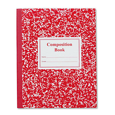 Grade School Ruled Composition Book, 9 3/4 X 7 3/4, Red Cover, 50 Pages