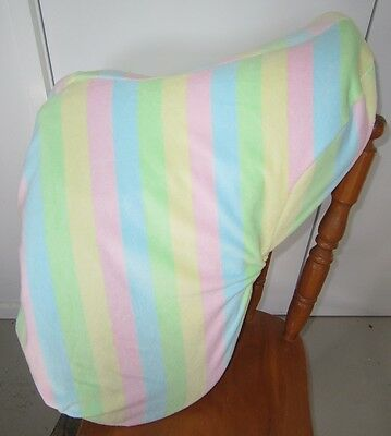 Horse Saddle cover Pastel stripes  FREE EMBROIDERY Australian Made Protection