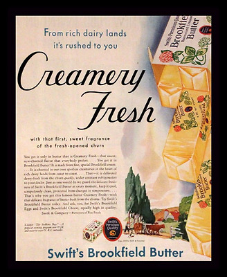 1932 Butter Ad - Swift's Brookfield - Creamery Fresh - Vintage Advertising Page