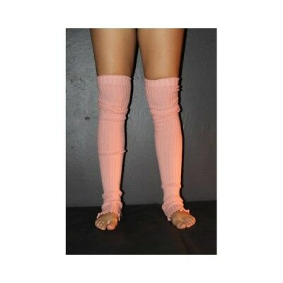 Pole Dance Gym Extra long Stirr-up Knit Legwarmers Peach