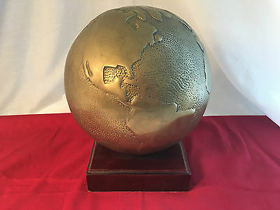 VINTAGE Terrestrial World GLOBE Map Hammered Bronze Brass Metal- Wood Base